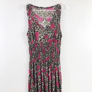 Dresses & Skirts - Vintage 90's Floral Dress. Leopard Pink Roses